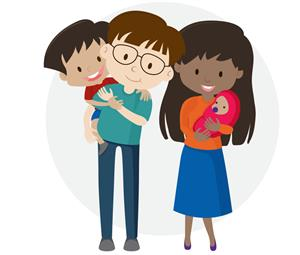 clip art of a mother, father, son and baby