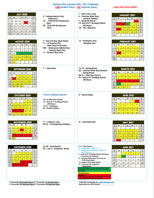 Revised Calendar with Later Start Date