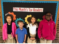 Group picture of the February top readers from First grade through Fifth grades.