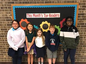 January top readers from first through fifth grades.