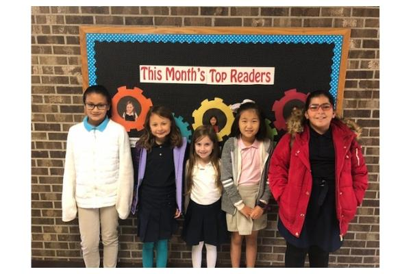 November Top Readers from first grade through fifth grade.