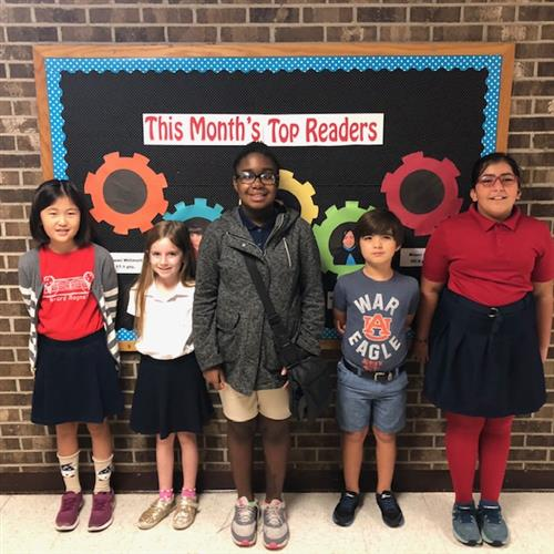 Group picture of 1st though 5th grade October top readers.