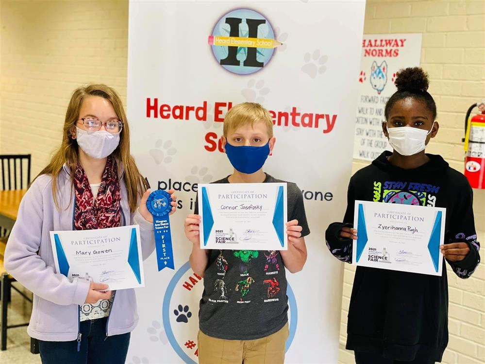 Science Fair winners are: 6th grade Symaria Green, 5th grade Zyerihanna Pugh, 4th grade Coltyn Mattimore. Congratulations!