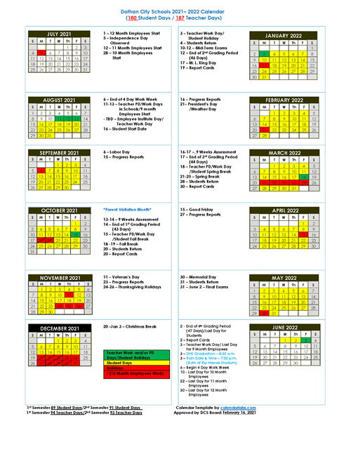 2021 2022 District Calendar Approved