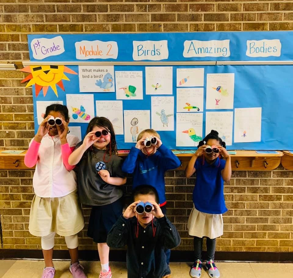 "Mrs. Spivey's class is ready for learning ""all about birds"""