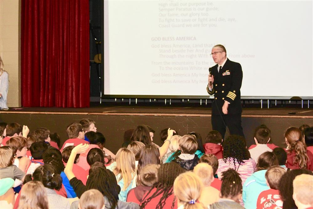 Captain Dan Burque Talks to CMS Students about Veterans Day